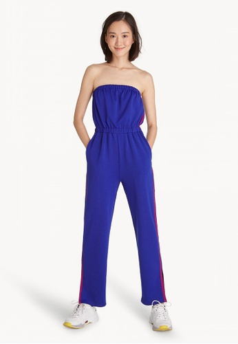 diverse styles wide selection of colours and designs release date: Strapless Side Striped Jumpsuit - Blue