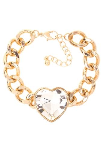 Kimberley gold Heart Rhinestone Chain Bracelet KI026AC46BVLPH_1