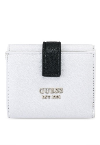Guess white and multi Little Paris Petite Trifold Wallet 9314DACF5F5766GS_1