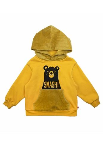 Vauva yellow Vauva Kids Brother Bear Corduroy Hoodie - Yellow 50B3FKAB8FB70CGS_1