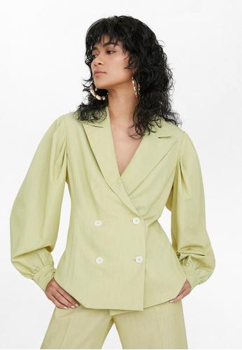 Pomelo green Oversized Double Button Blazer - Green 32F88AAE74D184GS_1