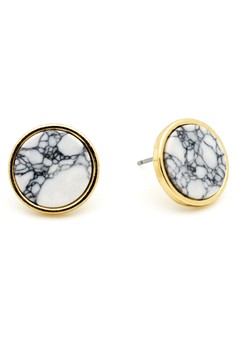 Round Circle Marble Ear Stud Earring