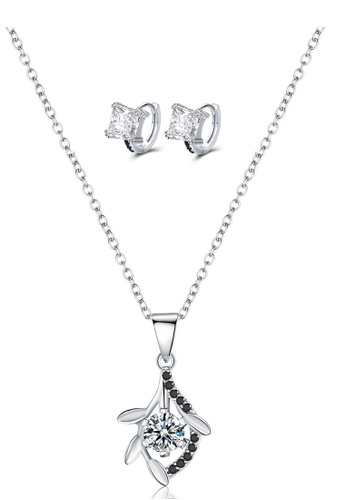 A-Excellence white Premium Elegant White Sliver Necklace Earring Set 9AF2EAC1A109A6GS_1