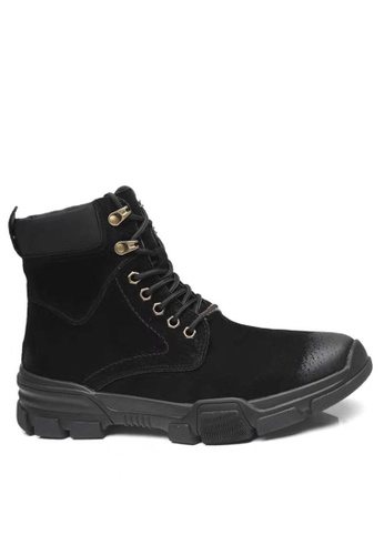 Twenty Eight Shoes 黑色 磨沙皮綁帶短靴 MC88 ECC3ESH051AA59GS_1