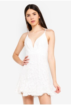 b0d6ab4164ca INDIKAH white Deep V Neck Lace Dress 183A1AA3AF1BE6GS 1