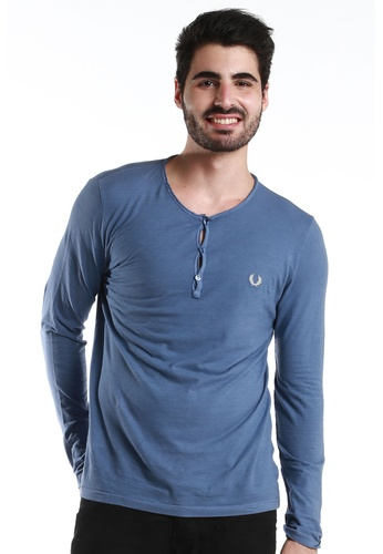 Fred Perry Green Label blue Blue 3 Buttons Crew Neck Long Sleeve Tshirt FR595AA45GBQMY_1
