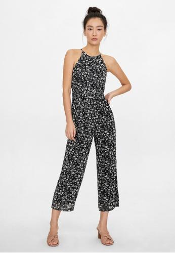 Pomelo black Halter Belted Floral Jumpsuit - Black 0C73EAAE066D4EGS_1