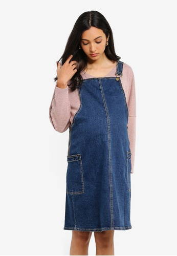 official site new arrive big discount Maternity Midwash Denim Pinafore Dress