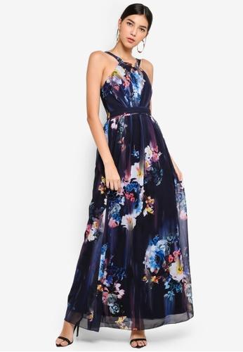 Little Mistress multi and navy Floral Blur Maxi Dress 9A063AA220E603GS_1