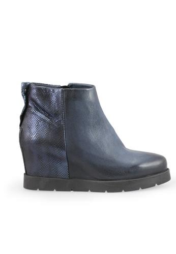 Shu Talk 藍色 型格牛皮內增高短靴 SH544SH0A83NTW_1