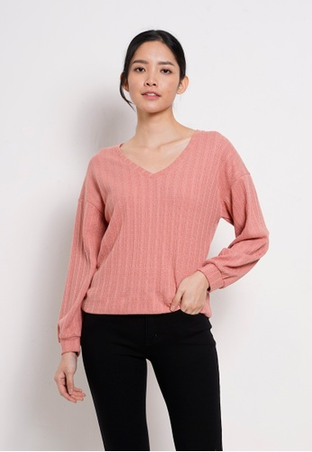 Fave pink Women Knit Long Sleeve Blouse F4429AA61AFCB5GS_1