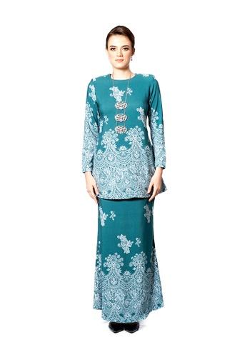 LARA NOUR green Baju Kurung Lace Printed E71A8AAB0E889DGS_1