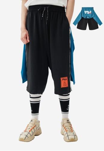 FILA black FILA × Maison MIHARA YASUHIRO Layered-look Side Taped Shorts 73904AAA86BEB4GS_1