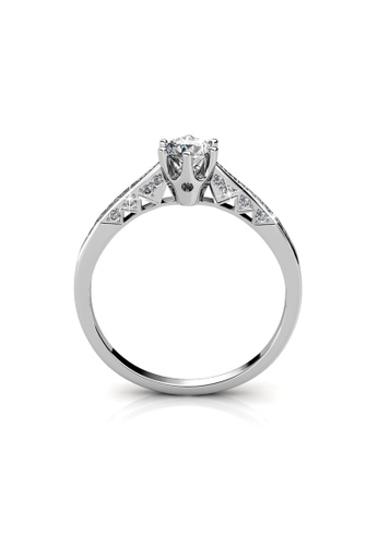 Her Jewellery silver Swarovski® Crystals - Destiny Ring (White Gold) -(18K White Gold Plated) Her Jewellery HE581AC0RE3SMY_1