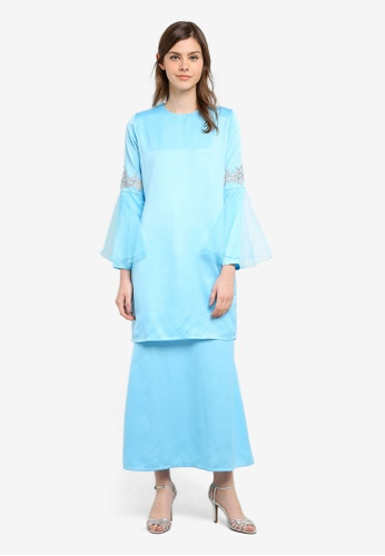 Gene Martino blue Fairy Kurung With Organza Ruffles Sleeve And Floral Details GE222AA0S76GMY_1