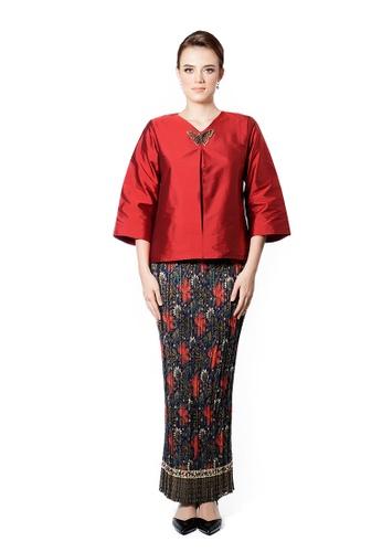 LARA NOUR red Fancy Blouse Sets DAF21AA18E2239GS_1