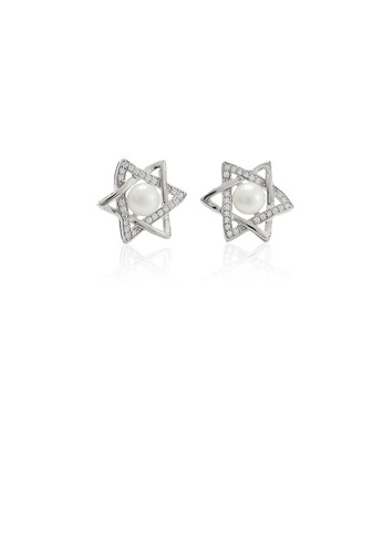 Glamorousky white 925 Sterling Silver Simple Fashion Star Freshwater Pearl Stud Stud Earrings with Cubic Zirconia CAFFBACF648670GS_1