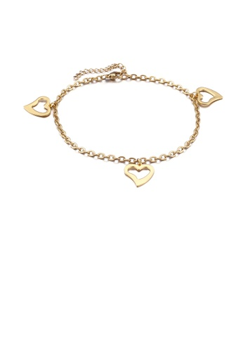 Glamorousky silver Fashion and Simple Plated Gold Heart-shaped 316L Stainless Steel Anklet A00CEAC491CCDAGS_1