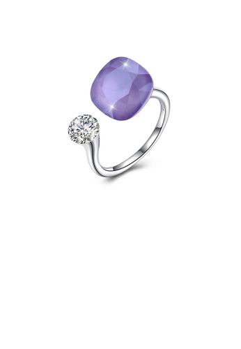 Glamorousky white 925 Sterling Silver Fashion Individual Purple Austrian Element Crystal Square Adjustable Ring A70B3AC2DF13EFGS_1