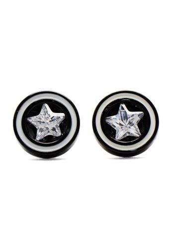 Silverworks black Black Fake Tunnel Earrings With Clear Star Cubic Zirconia 4B1B2AC134566EGS_1