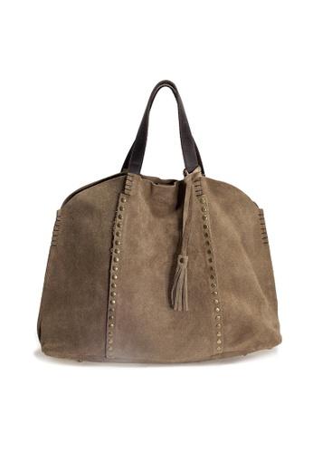 1dfaa529b62e Shu Talk beige DMR Touch Beige Studs Suede Leather Shopper Tote Bag  7A538AC4DB8C73GS_1