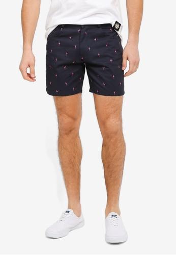 JAXON navy Flamingo Motif Chino Shorts 01354AA30982E4GS_1