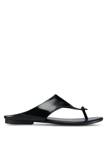 Rizalman for Zalora black Candra Men Patent Sandals RI909SH0SF0NMY_1