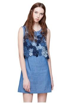 【ZALORA】 OUWEY歐薇 細帶蕾絲兩件式洋裝