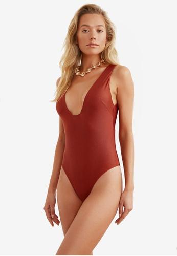 Trendyol brown Deep Collar Swimsuit F3DE2US72FC957GS_1