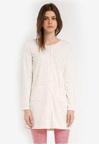 Zariya beige Long Sleeves Cardigan 55F74AA393E190GS_1