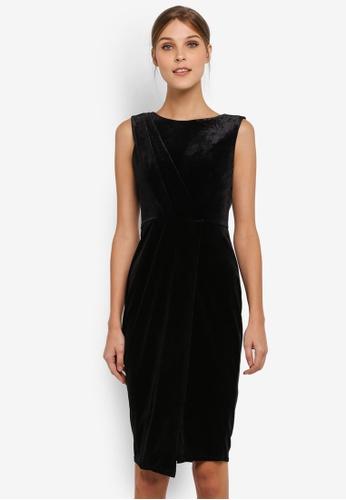 CLOSET black Draped Sleeveless Wrap Dress CL919AA0SIKUMY_1