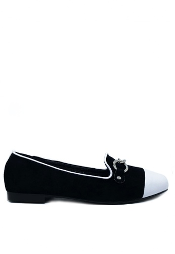 Twenty Eight Shoes black Chain Synthetic Suede Loafers 1140-86 DD8E0SH00F11BDGS_1