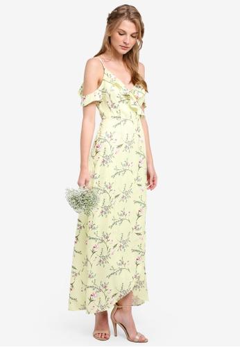 ZALORA yellow Bridesmaid Cold Shoulder Maxi Dress 385B0AAAEA1EA3GS_1