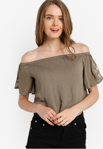 Something Borrowed green Embroidered Off Shoulder Top F0041AAC4076B1GS_1