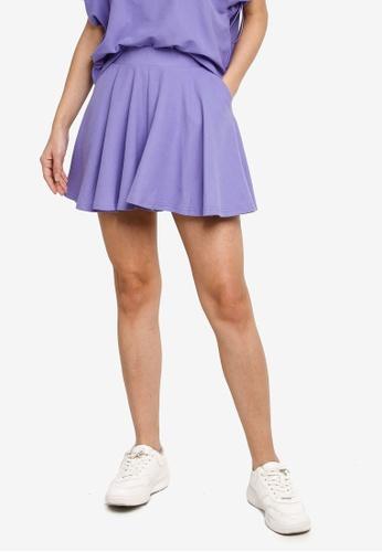 Hopeshow purple Preppy Style High Waist Flare Shorts 7A871AA93F773BGS_1