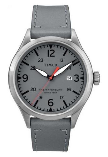 Timex grey and silver Timex Waterbury Traditional 40mm - Silver-Tone Case, Grey Strap (TW2R71000) 16B19ACF29E940GS_1