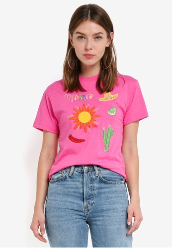 TOPSHOP pink Embroidered Mexico Slogan T-Shirt 72364AAEB6FD7CGS_1