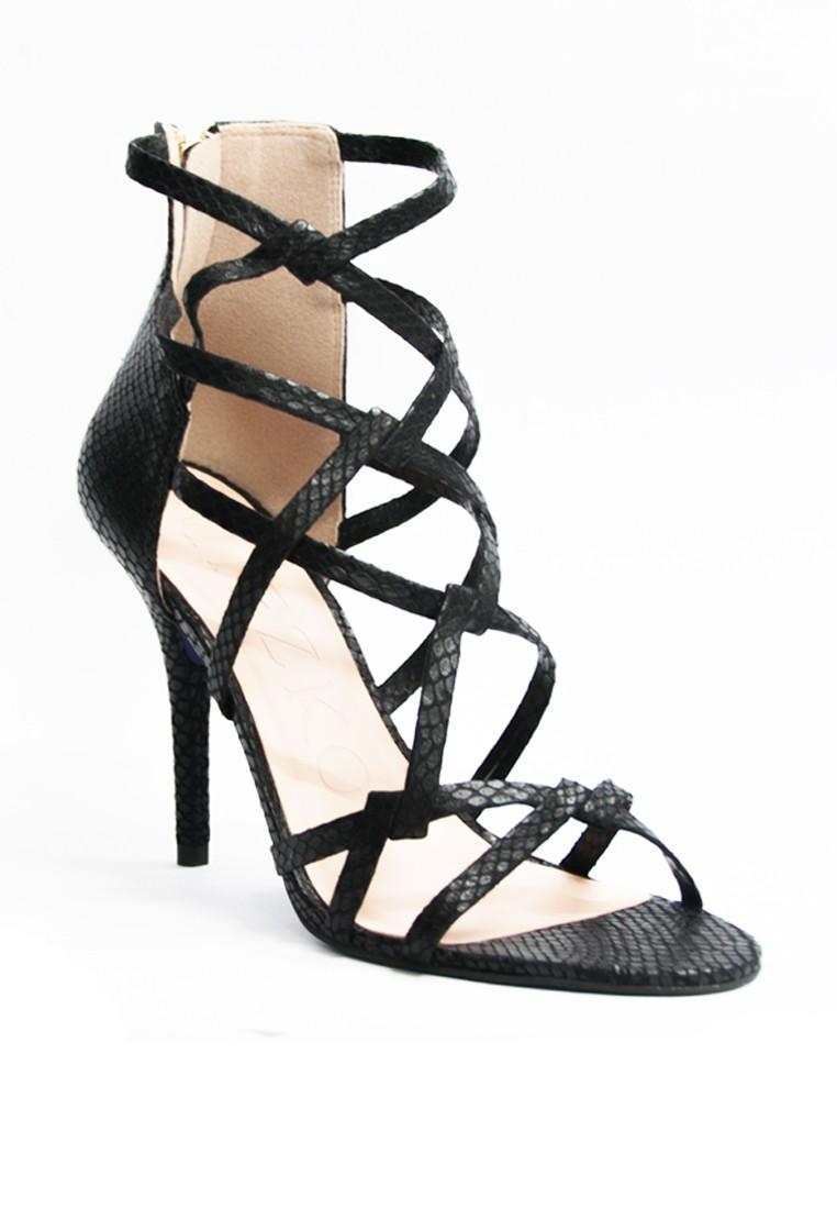 Miezko Lia Shine Snake Vitello Strappy Heeled Sandals
