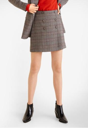 Mango grey Buttoned Checked Skirt F73E6AAEBD0FA2GS_1