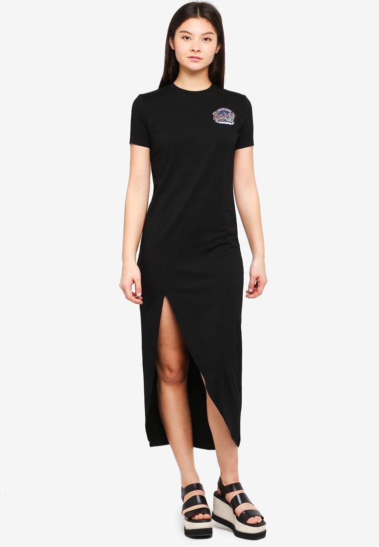 Something Dress Black Borrowed Hem Asymmetric Midi WnFZtpxA