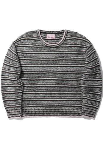 b+ab green Multicolour stripe sweater 49DA6AA499F723GS_1
