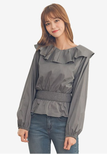Yoco blue and grey Frill Neckline Puff Sleeve Blouse 296A4AA3810CF7GS_1