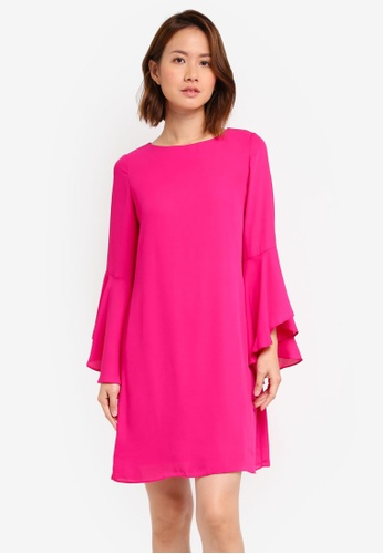 Dorothy Perkins pink Pink Flute Sleeve Shift Dress DO816AA0ST00MY_1
