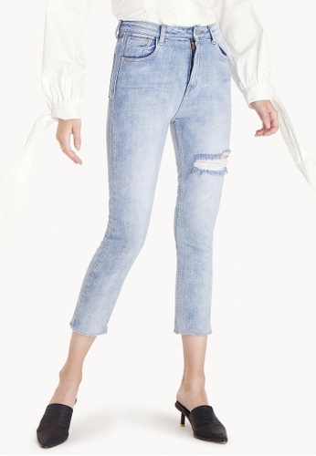 Pomelo blue Light Wash Ripped Skinny Jeans 75480AA57235E5GS_1
