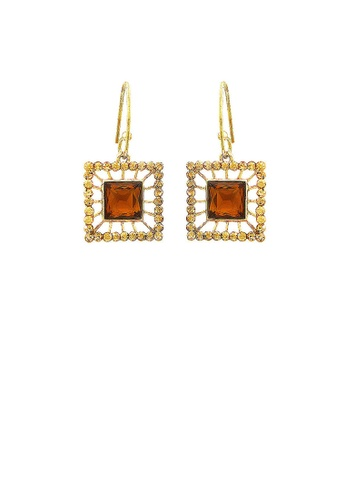Glamorousky silver Elegant Square Earrings with Yellowish Copper and Silver Austrian Element Crystals 2DBB8AC36FA2E8GS_1