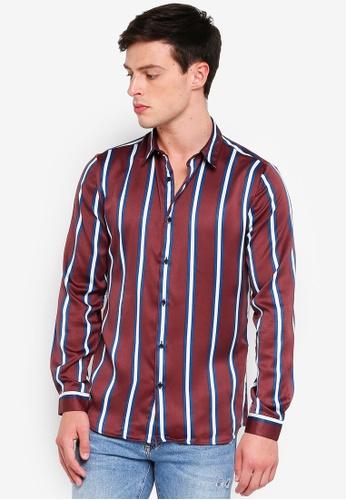 River Island 紅色 綢緞條紋襯衫 24868AA98A7724GS_1