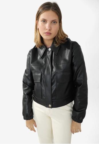 PIMKIE black PU Short Jacket 01CE0AACCEC550GS_1