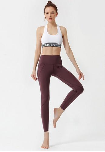 B-Code brown ZYG3046-Lady Quick Drying Running Fitness Yoga Sports Leggings -Brown 09231AA29B69BDGS_1