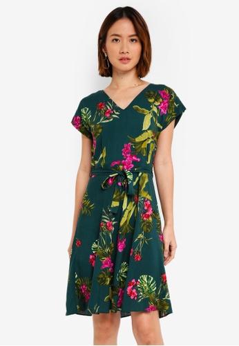 Dorothy Perkins green Green Floral Tie Front Dress 436ECAAB7D624AGS_1