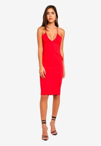 afe7849fb6 Buy MISSGUIDED Strappy Cross Plunge Midi Dress Online on ZALORA ...
